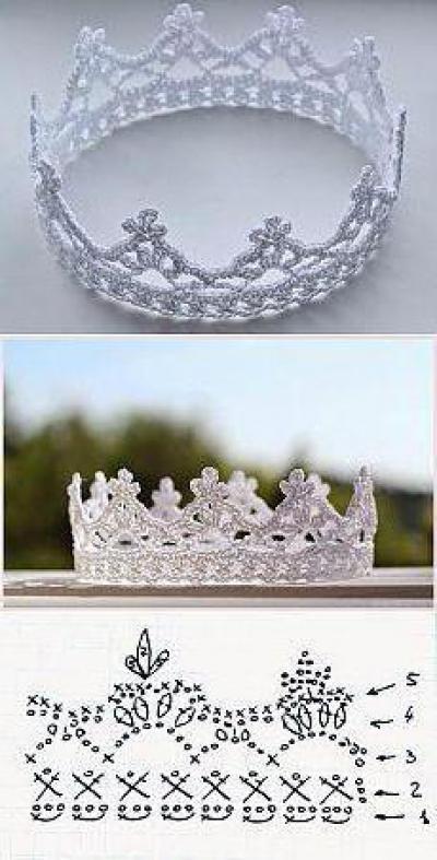 вязаная крючком корона крючок и нитки для короны