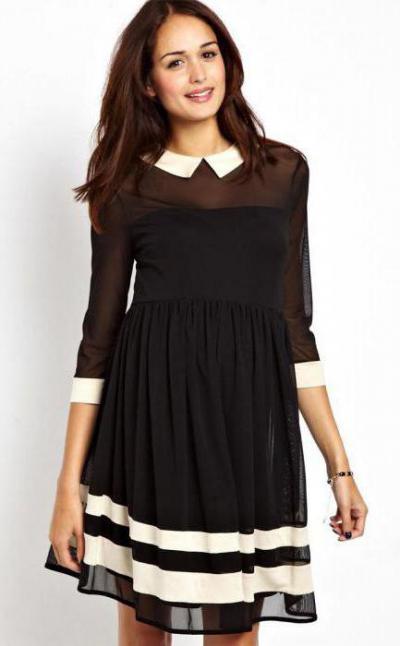d96bbfd5bca Черное платье с белым воротником и манжетами  идеи фасонов