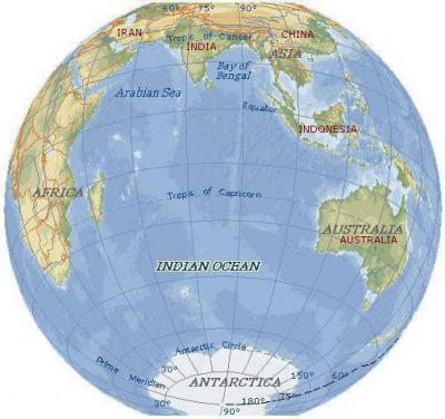 Сколько процентов занимает индийский океан