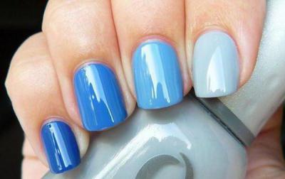 Маникюр в синих голубых тонах