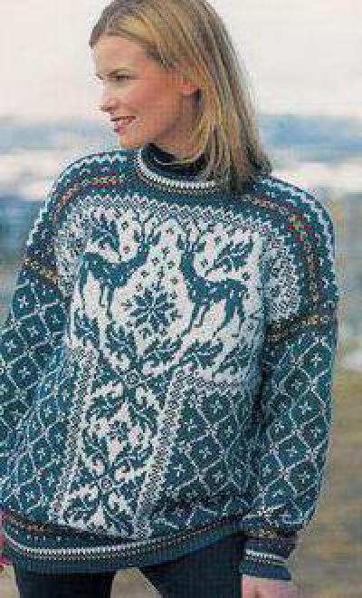 efec4d7b65b Женский свитер с оленями  схема вязания спицами и описание
