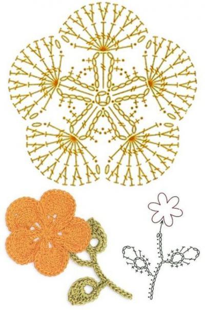 вязание цветов крючком пошаговое описание схемы