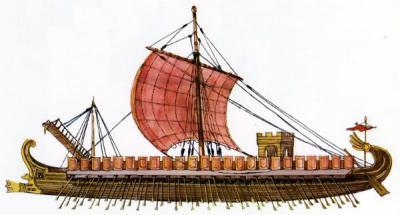 Военный древнегреческий корабль с тремя парами весел