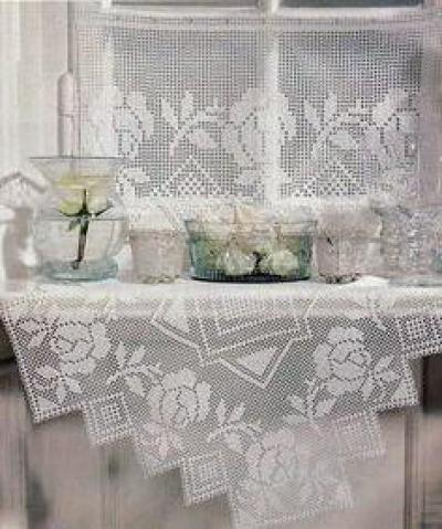 схема филейного вязания крючком салфеток скатерти и прочих изделий