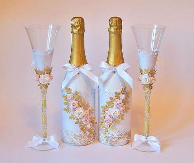 украшение бутылок своими руками на свадьбу фото